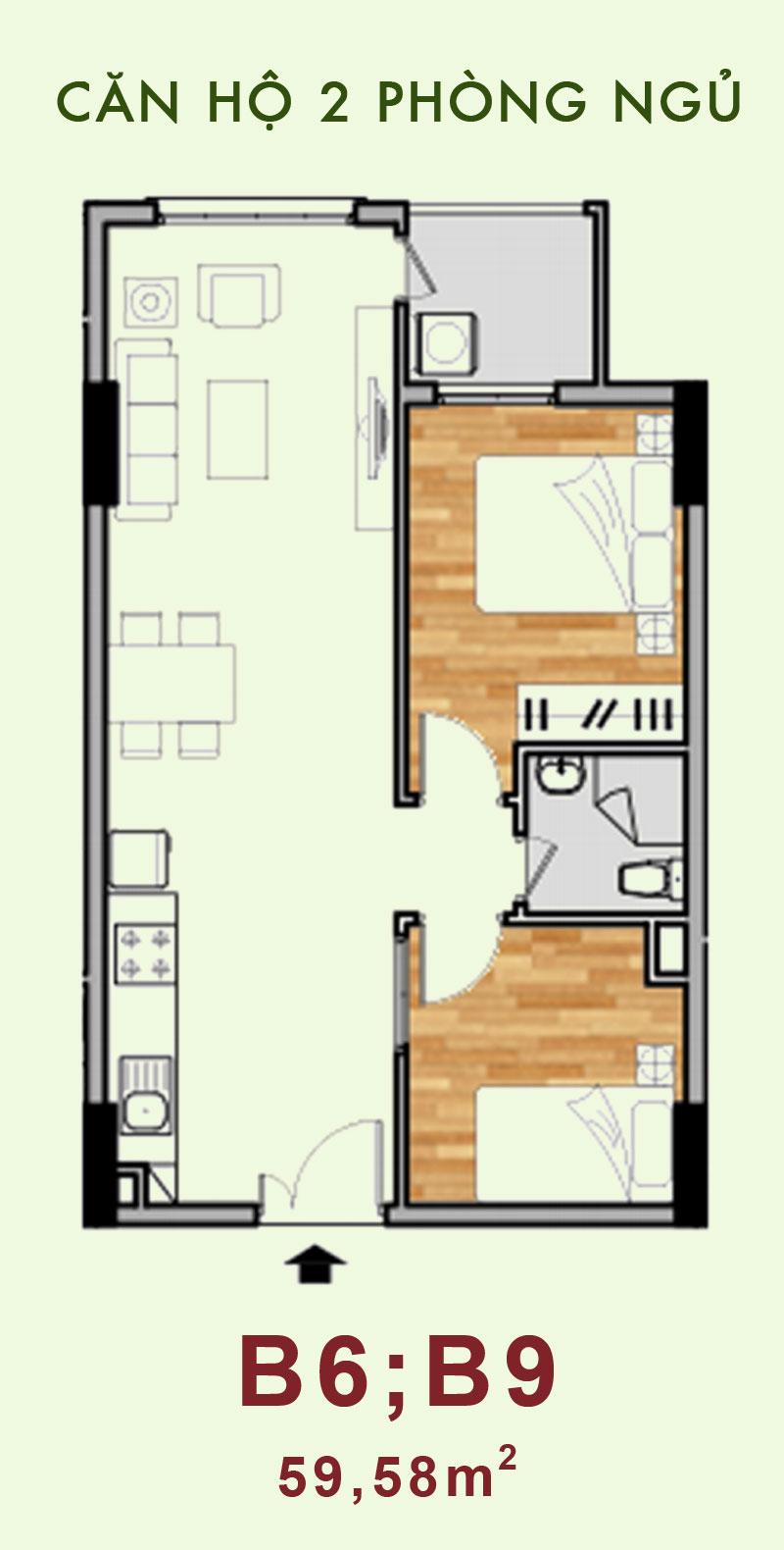Bản vẽ căn hộ B6, B9