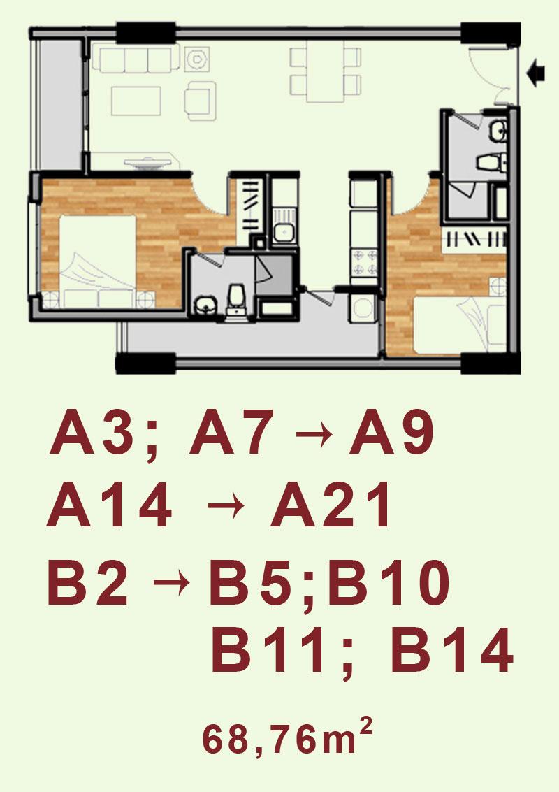 Bản vẽ căn hộ A3, A7->A9, A14->A21, B2->B5, B10, B11, B14