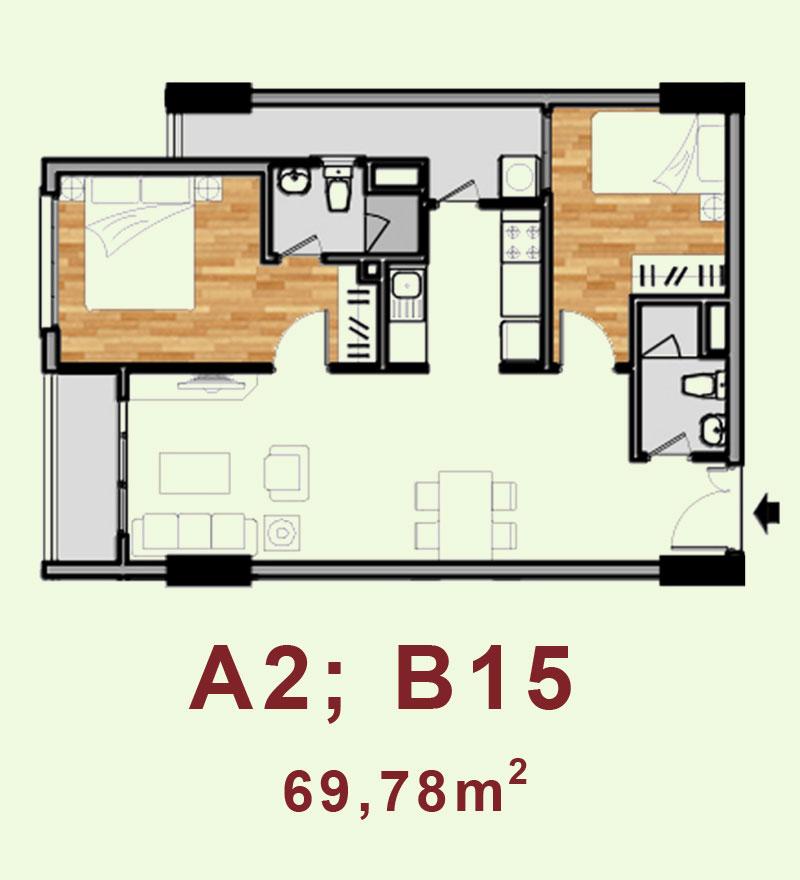 Bản vẽ căn hộ A2, B15