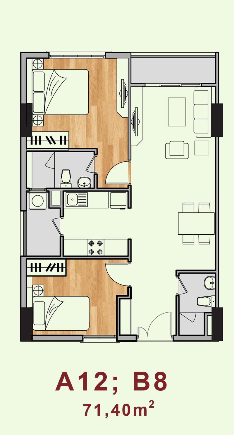 Bản vẽ căn hộ A12, B8